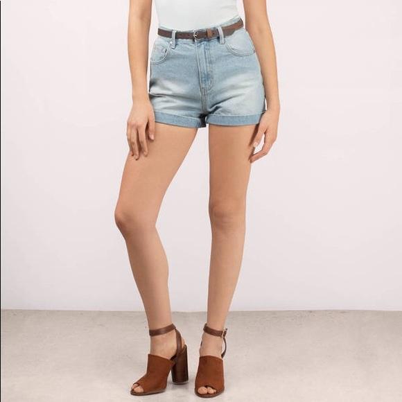 MINKPINK Pants - NWT Minkpink light blue denim high rise shorts L